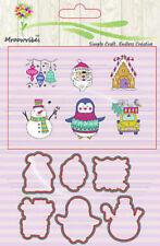 Christmas Snowman Cutting Dies Clear Stamp Stencils DIY Scrapbooking Album Cards