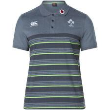 Ireland Rugby Canterbury Men's Cotton Stripe Polo Shirt - Grey - New