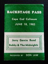 Jerry Garcia Band Bob Weir Midnites Backstage Pass 6/18/1982 Ma Grateful Dead
