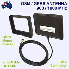 GSM / GPRS ANTENNA 900+1800MHz and GLASS MOUNT SMA 2.5m CABLE Patch Aerial 3dB