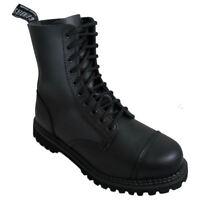 Mens Grinders Black Stag Combat 10 Hole Boots 8 - 12 UK