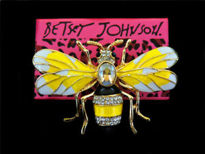 Betsey Johnson Enamel Crystal Honeybee Bee Charm Women's Animal Brooch Pin