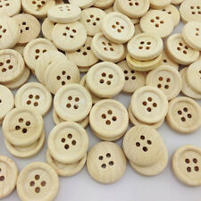 100PCS New 4 hole Round Wood Buttons 15mm Sewing Craft WB105