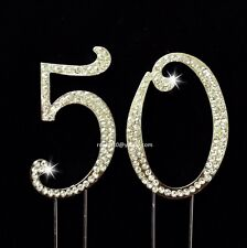 7cm Silver 50th Birthday Anniversary Number Cake Topper Rhinestones ~ Decoration