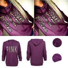 Formal Womens Long Sleeve Sweater Formal Hooded Coat Pink Print Pullover Hoodies