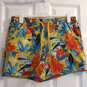 George Yellow Floral Stretch Waist Cotton Shorts High Rise Size 14