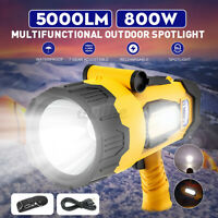 12000mAh LED Handheld Spotlight USB Rechargeable Flashlight Camping Spo