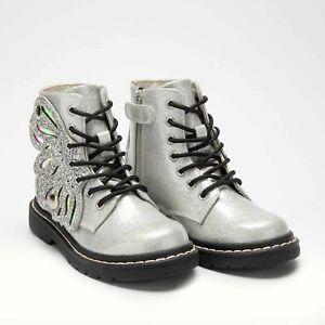 Lelli Kelly LK5544 Butterfly Wings Boots in Glitter Silver (New) Free LK Gift