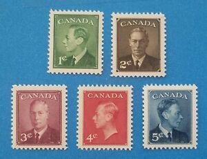 Canada Scott #289-293 MNH very well centered good original gum. Good margins.