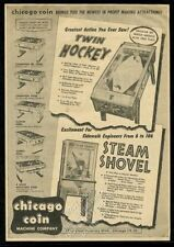 1956 Chicago Coin Twin Hockey Steam Shove arcade game pool table trade print ad