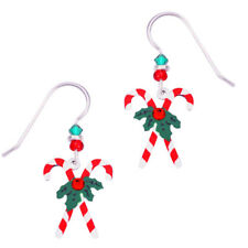 Sienna Sky Christmas Candy Canes with Holly Pierced Earrings ~Handcrafted in USA