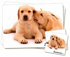 Yellow Labrador Dogs 'Soulmates' Twin 2x Placemats+2x Coasters Set in, SOUL-37PC