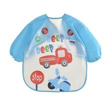 Baby Kids Bibs With Full Long Sleeve Baby Toddler Weaning Feeding Apron Smock UK