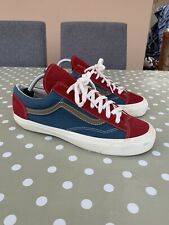 VANS OLD SKOOL SKATE SHOES SIZE UK 9 US 10 BLUE RED WHITE SNEAKERS SUEDE CANVAS