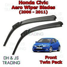 (06-12) Honda Civic Aero Wiper Blades / Front Flat Blade Wipers Hatchback FN2