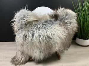 Beautiful Curly Silver Gray Sheepskin Rug Pelt Genuine Natural Soft