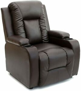 More4Homes OSCAR BONDED LEATHER RECLINER w DRINK HOLDERS ARMCHAIR SOFA CHAIR REC