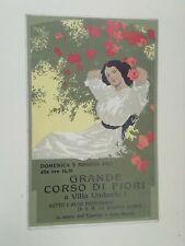 Cartolina Pubblicitaria Grande corso di fiori Villa Umberto I 1912 Liberty