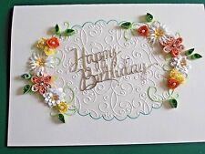 Handmade Personalised  Birthday Day/Anniversary/Wedding  Card Quilled Orange