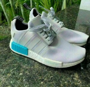 ADIDAS NMD R1 JUNIORS S80207 SIZE 4.5 LIGHT GRAY WHITE BLUE SNEAKERS
