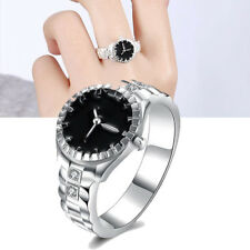 Women Jewelry Watch Shape Ring Silver Plated Zircon Round Finger Ring Watch New