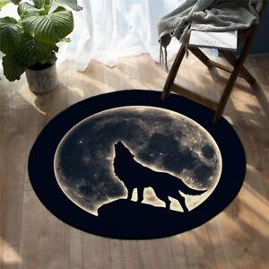 Black Full Moon Night Wild Wolf Animal Round Rug Carpet Mat Living Room Bedroom