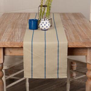 "VHC Brands Farmhouse 13""x72"" Table Runner Blue Lauren Cotton Kitchen Table Decor"