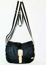LACOSTE Sorbonne Chic Black Nylon Flap Crossbody Natural Leather Trim