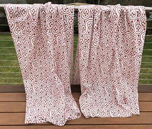 """IKEA LAPPLJUNG Geometric Red White Curtain Drape 2 Panels 57"""" x 98"""" Light Filter"""