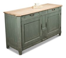 """62"""" W Sideboard Solid Poplar Wood Natural Top Distressed Green Traditional"""