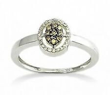 Chocolate Brown Diamond Ring 10K White Gold Diamond Oval Cluster Ring .17ct