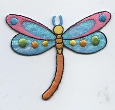 Iron On Embroidered Applique Patch Childrens Shimmery Colorful Dragonfly LARGE