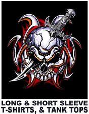 SKULL DEVIL DEMON TRIBAL KNIFE GOTH PUNK BIKER TATTOO T-SHIRT  WS9