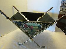 VTG FOLDING MAGAZINE RACK Golf design WOOD METAL FABRIC GOLF CLUBS BALLS