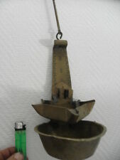 antique Whale Oil RUSHLIGHT Primitive Folk Art COPPER bronze Oil LAMP retro old