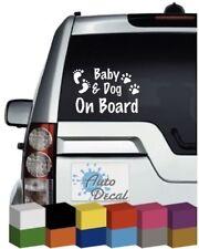 Baby & Dog On Board Novelty Vinyl Window Car Bumper, Decal / Sticker / Graphic