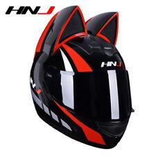 Personality Sexy Cat Ears Motorcycle Full Helmet Summer Men Women Racing Helmets