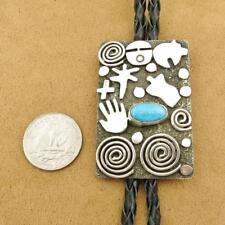 Native American Alex Sanchez Sterling Silver Petroglyph Turquoise Bolo Tie