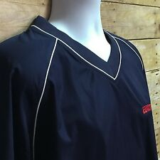 FootJoy Mens XL Navy Blue V Neck Windshirt Poly Golf Short Sleeve Pullover