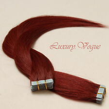 40Pcs Tape-in Hair Extensions 100% Human Hair Remy #530 (Bright Burgundy)(AUFP)