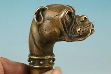 Chinese Old Bronze Handmade Carved dog Collect Statue Cane Walking Stick Head