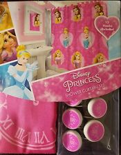 "Disney Princess  cloth shower curtain set 12 hooks included 72""x 72"""