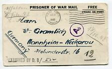 CANADA 1942  WWII Censored Cover PRISONER OF WAR POW CAMP 20 BASE APO to Germany