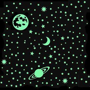 500 Leuchtsterne nachleuchtend ⭐ STAR-SET Saturn Vollmond w. deutsche HP-Folie©