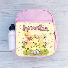 Personalised Chick Chicken Eggs, Girls Kids Backpack, Childrens School Bag