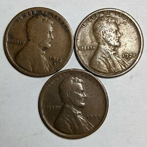 Lot of 3 Different Dates Lincoln Wheat Cent Scarce Semi Key 187076p