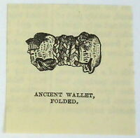 small 1883 magazine engraving ~ ANCIENT WALLET folded, Peru