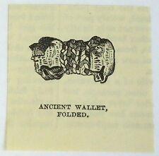 small 1883 magazine engraving ~ ANCIENT WALLET folded, Peru