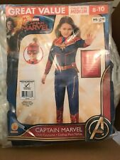 Captain Marvel Avengers Costume Girl Child M 8-10 Padded Jumpsuit Head Piece New