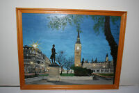 Original London Big Ben Parliament Square Oil Painting on Board by J. Shepherd